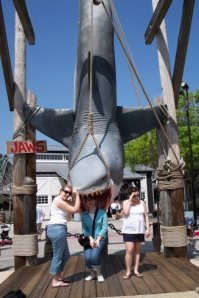 Pictured: Me feeding Jen to Jaws at Universal Orlando. The girl looking away is our other friend, Jenna.